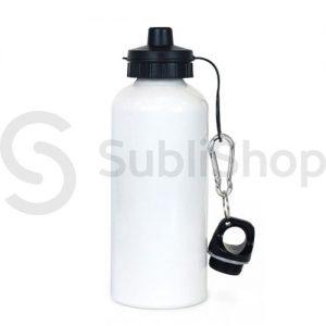 botella blanca de aluminio con doble tapa 600cc