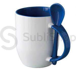 taza de ceramica con interior asa y cuchara azul