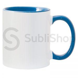 taza de ceramica con interior y asa de color azul