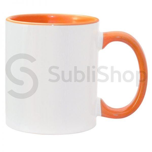 taza de ceramica con interior y asa de color naranja