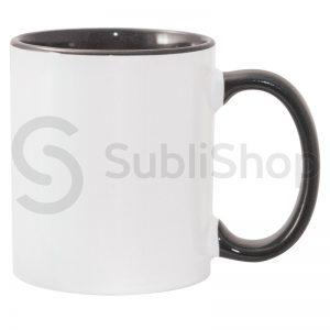 taza de ceramica con interior y asa de color negro