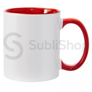 taza de ceramica con interior y asa de color rojo