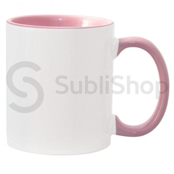 taza de ceramica con interior y asa de color rosa