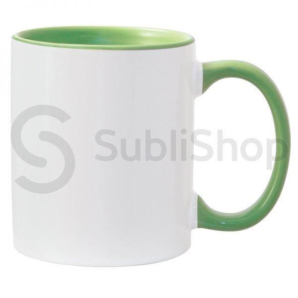 taza de ceramica con interior y asa de color verde