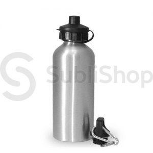 botella plateada de aluminio con doble tapa 600cc