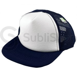 gorra trucker niño visera plana azul frente blanco