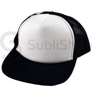 gorra trucker niño visera plana negra frente blanco