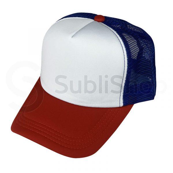 gorra trucker red azul visera roja para sublimar