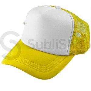 gorra trucker visera curva amarillo frente blanco