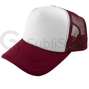 gorra trucker visera curva bordo frente blanco