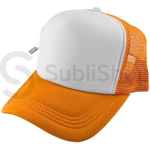 gorra trucker visera curva naranja frente blanco