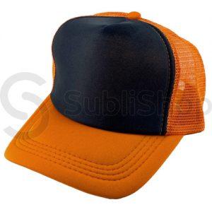 gorra trucker visera curva naranja frente negro