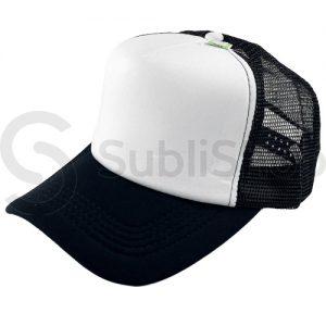 gorra trucker visera curva negra frente blanco