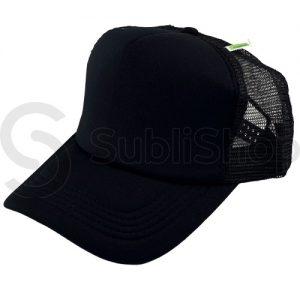 gorra trucker visera curva negra frente negro