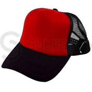 gorra trucker visera curva negra frente rojo