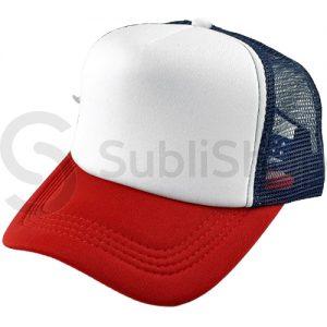 gorra trucker visera curva roja azul marino frente blanco