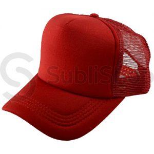 gorra trucker visera curva rojo frente rojo