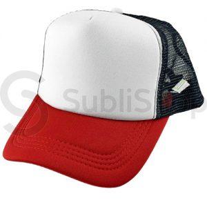 gorra trucker visera curva rojo red negra frente blanco