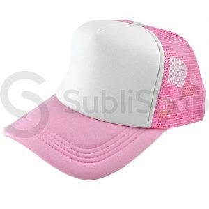 gorra trucker visera curva rosa frente blanco