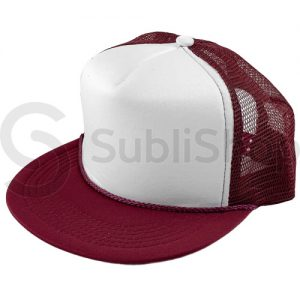 gorra trucker visera plana bordo frente blanco