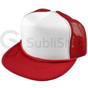 gorra trucker visera plana roja frente blanco