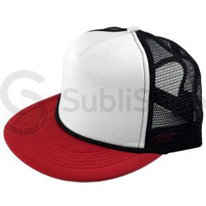 gorra trucker visera plana roja red negra frente blanco