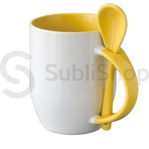 taza de ceramica con interior asa y cuchara amarillo
