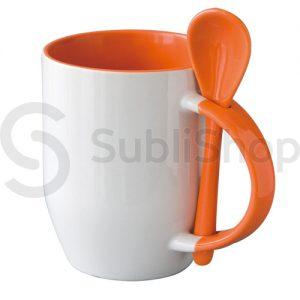 taza de ceramica con interior asa y cuchara naranja