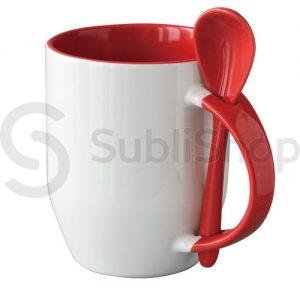 taza de ceramica con interior asa y cuchara rojo