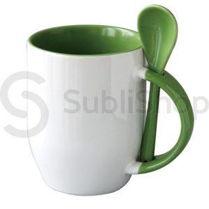 taza de ceramica con interior asa y cuchara verde