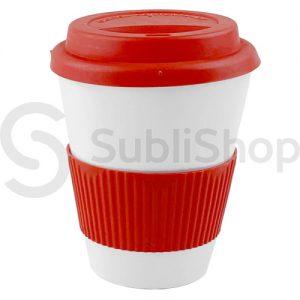 vaso termico de plastico con tapa y agarradera de silicona roja