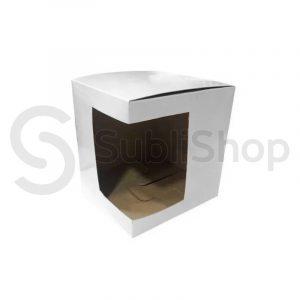 caja para tazas de carton sublimable con ventana