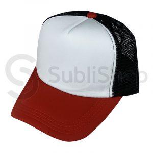 gorra trucker red negra visera roja para sublimar